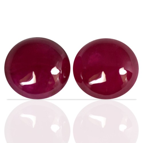 2.60 cts Natural Top Blood Red Ruby Round Cab Pair Madagascar Unheated 6 mm