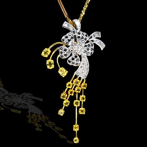18K Pure Gold Natural Yellow Sapphire Diamond Ladies Pendant With Chain