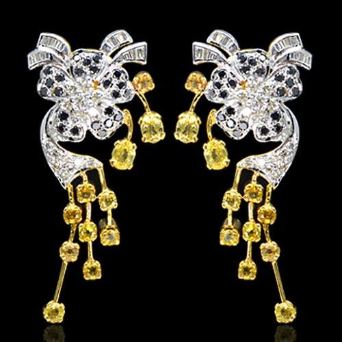 18K Pure Gold Natural Yellow Sapphire Diamond Ladies Earrings Tops