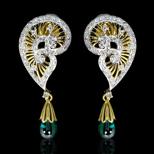 14K Pure Gold Natural Top Hydro Emerald Diamond Ladies Earrings Tops