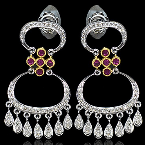 18k Pure White Gold Natural Top Red Ruby Diamond Hand Made Ladies Earrings