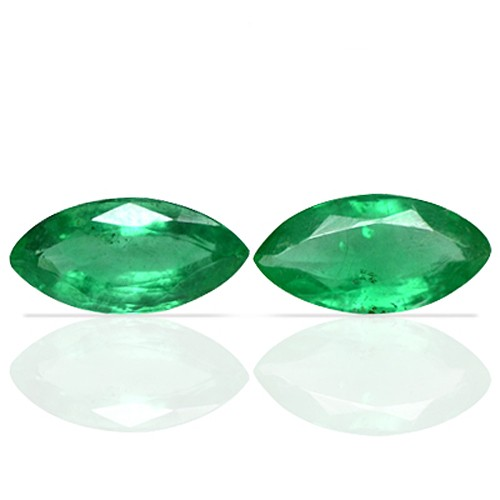 1.32 Cts Natural Green Emerald Unheated Gems Marquise Cut Pair Zambia 2 Pcs