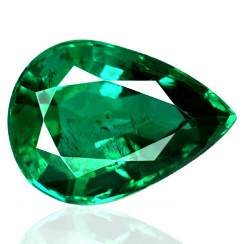 4.18 cts Natural Green Emerald Loose Gemstone Pear Cut Unheated Zambia