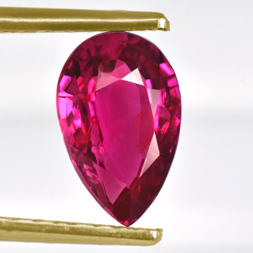 1.02 Cts Natural Top Pink Red Ruby Gemstone Pear Certified Winza Tanzania 8x5 mm
