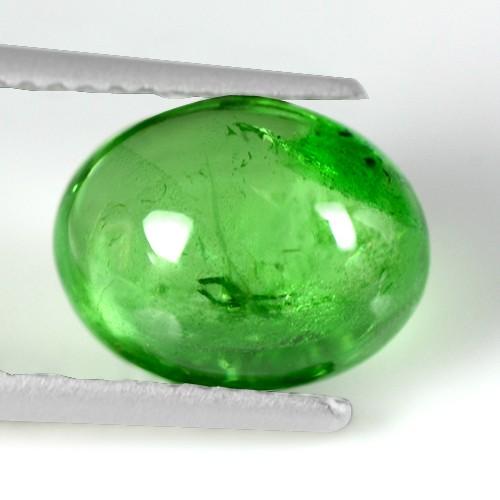 3.75 Cts Natural Top Green Tsavorite Garnet Loose Gemstone Oval Cab Kenya 10x8mm