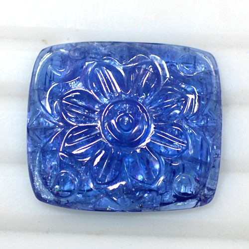 31.70 Cts Natural Top Gorgeous Blue Tanzanite Loose Gemstone Hand Made Carving
