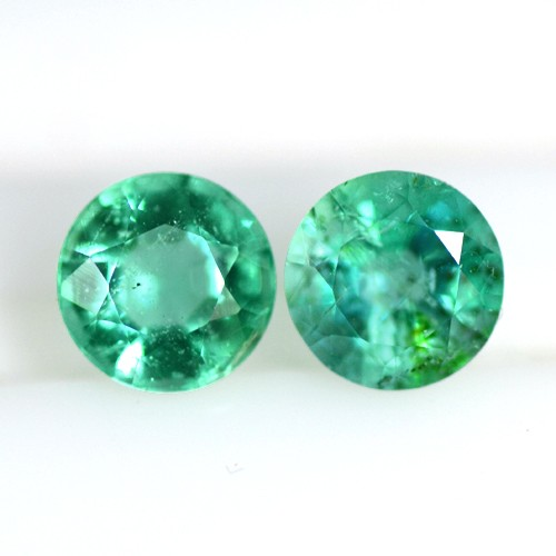 0.64 cts Natural Top Green Emerald Loose Gems Round Cut Best Pair Zambia 4.5mm