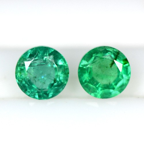 0.66 cts Natural Green Untreated Emerald Loose Gems Round Cut Pair Zambia 4.5 mm