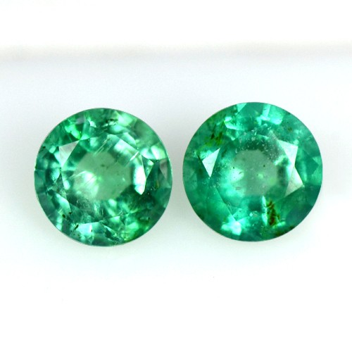 0.58 cts Natural Fantastic Luster Green Color Emerald Gems Round Cut Pair 4.5 mm