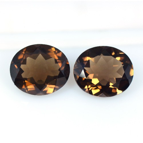 13.53 Cts Natural Top Quality Brown Smoky Quartz Loose Gems Oval Cut Pair Africa