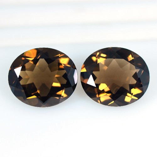 13.51 Cts Natural Topest Quality Brown Smoky Quartz Gems Oval Cut Pair Africa