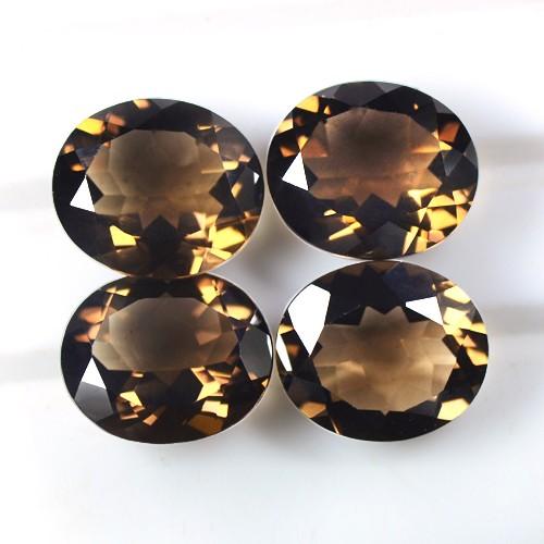 26.43 Cts Natural Top Brown Smoky Quartz Loose Gemstone Oval Cut Lot 4pcs Africa