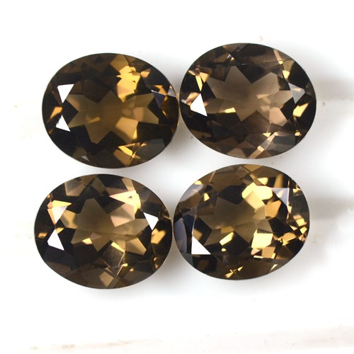 17.37 Cts Natural Top Brown Smoky Quartz Loose Gems Oval Cut Lot Africa 12x10 mm