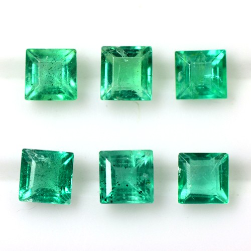 1.03 Cts Natural Mind Boggling Green Emerald Gems Square Cut 3 Set Pair Zambia