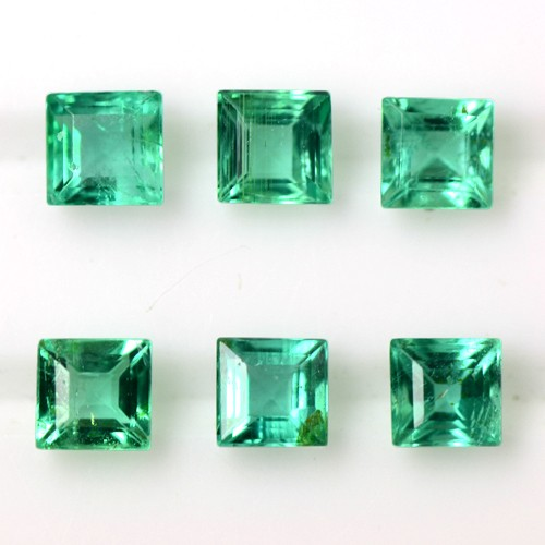 0.81 Cts Natural Earth Mined Green Emerald Gems Square Cut 3 Set Pair Zambia 3mm