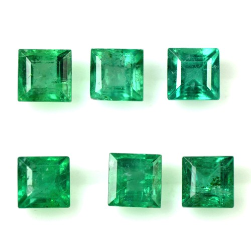1.13 Cts Natural Top Quality Green Emerald Gems Square Cut 3 Set Pair Zambia 3mm