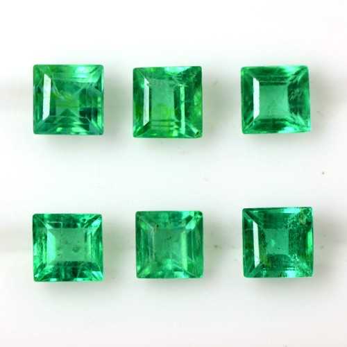 0.98 Cts Natural Green Lustrous Emerald Loose Gems Square Cut 3 Set Pair Zambia