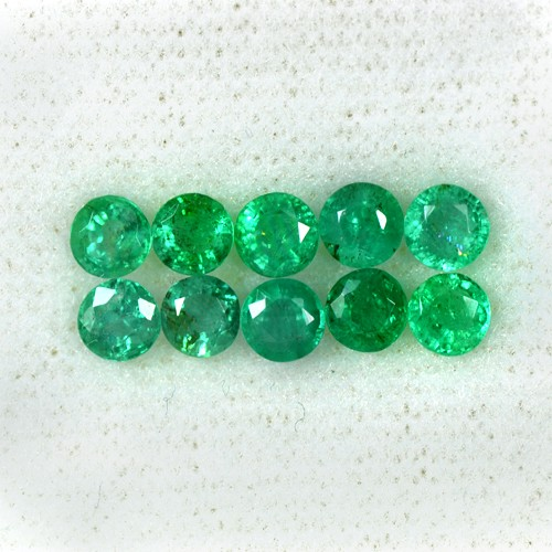 2.57 Cts Natural Fine Green Emerald Round Cut Lot Loose Gem Zambia Untreated 4mm