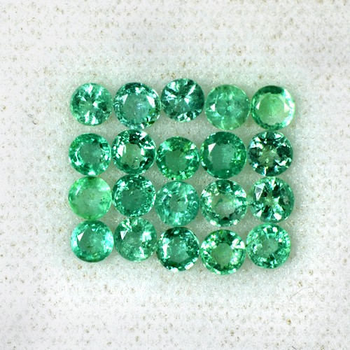 3.29 Cts Natural Top Green Emerald Round Cut Lot Loose Zambia Untreated 3.5 mm