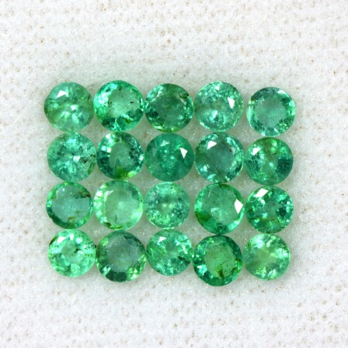 3.62 Cts Natural Top Green Emerald Round Cut Lot Loose Zambia Untreated 3.5 mm