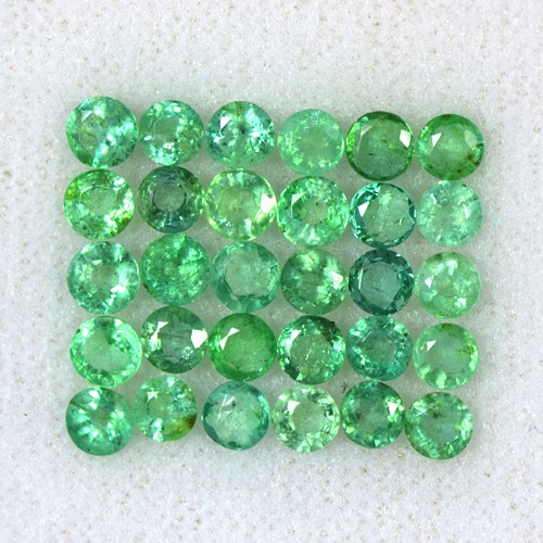 5.15 Cts Natural Top Green Emerald Round Loose Cut Lot Zambia Untreated 3.5 mm