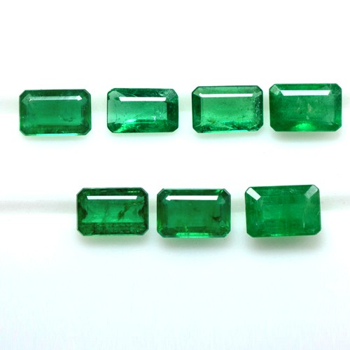 3.61 Cts Natural Lustrous Rich Green Emerald Octagon Cut Lot Zambia 6x4mm Lovely