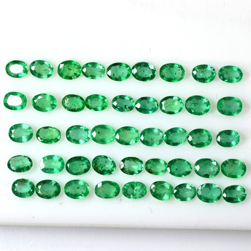 7.03 Cts Natural Lustrous Rich Green Emerald Oval Cut Lot Zambia 4x3 mm Gemstone