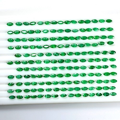23.14 Cts Natural Lustrous Rich Green Emerald Marquise Cut Lot Zambia 5x2.5 mm