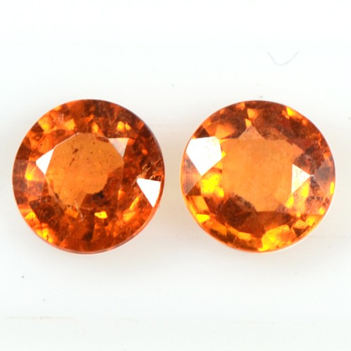 0.77 Cts Real Lustrous Fanta Orange Spessartite Garnet Round Pair Unheated 4 mm