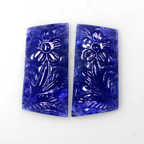 76.46 Cts Natural Lustrous Purple Blue Color Tanzanite Handmade Carving Pair Gem