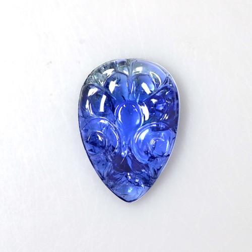 17.14 Cts Natural Bi Color Blue Tanzanite Handmade Pear Carving Unheated Gems