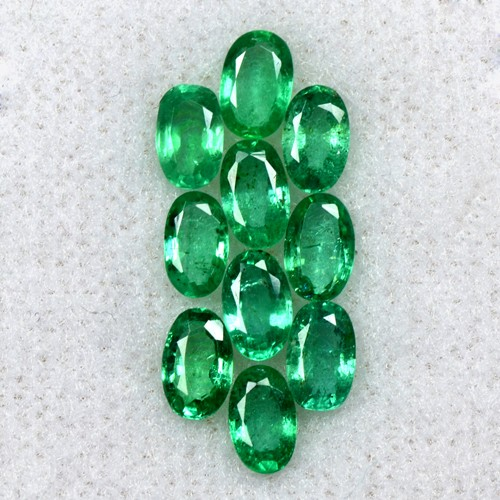 2.39 Cts Natural Fine Green Emerald 5x3 mm Oval Cut 10 Pcs Lot Untreated Zambia