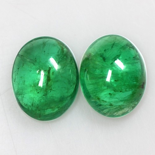 4.62 Cts Natural Fine Emerald Loose Gemstone Oval Cabochon Pair 10x8 mm Zambia