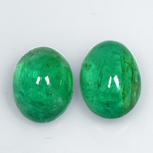 5.49 Cts Natural Emerald Loose Gemstone Oval Cabochon Pair Untreated Fine Zambia