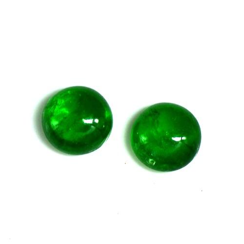 5.57 Cts Natural Green Tsavorite Garnet Cabochon Pair 8.5 mm Round Gemstone