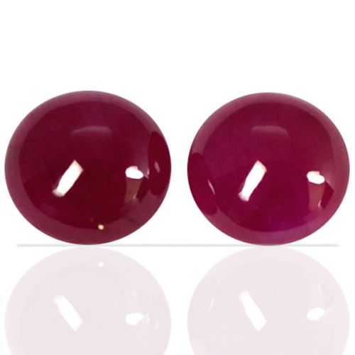 4.08 cts Natural Rare Top Blood Red Ruby Round Cab Pair Unheated Madagascar 7 mm