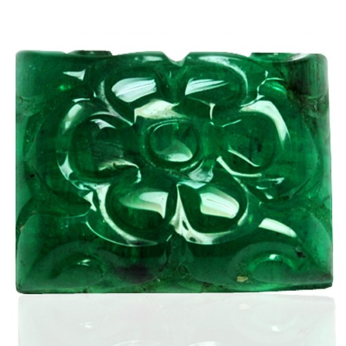 10.17 cts Natural Green Emerald Gemstone Hand Made Carving Zambia Unheated