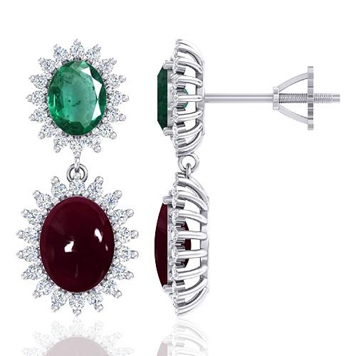 14K White Gold 5.5 Ruby cts 1.94 Emerald Stone Diamond Women Earrings