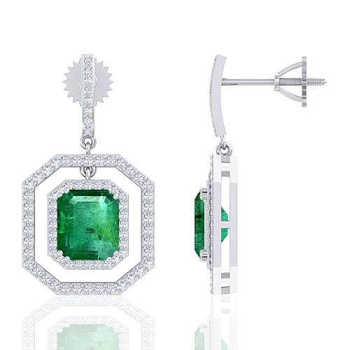 14K White Gold 4.64 cts Emerald Gemstone Diamond Designer Fine Jewelry Women Earrings