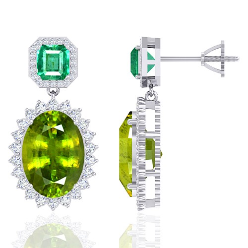 14K White Gold 13.64 cts Sphene 1.91 cts Emerald Stone Diamond Designer Women Earrings