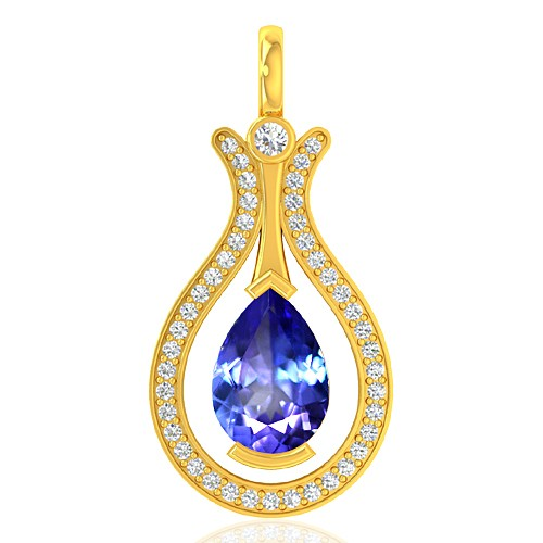 18k Yellow Gold 1.67 cts Tanzanite Gemstone Diamond Designer Fine Jewelry Pendant