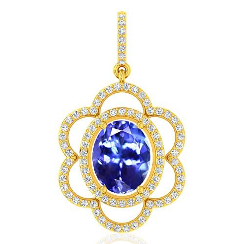 18k Yellow Gold 2.33 cts Tanzanite Gemstone Diamond Designer Fine Jewelry Pendant