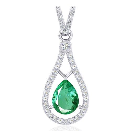 14K White Gold 0.94 cts Untreated Emerald Stone Diamond Designer Fine Jewelry Pendant