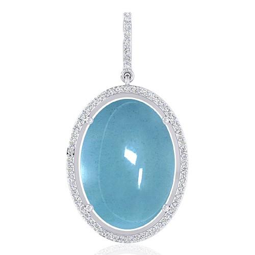 14K White Gold 14.05 cts Aquamarine Gemstone Diamond Designer Fine Jewelry Pendant