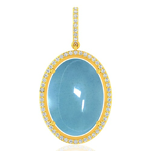 18k Yellow Gold 14.05 cts Aquamarine Gemstone Diamond Designer Fine Jewelry Pendant