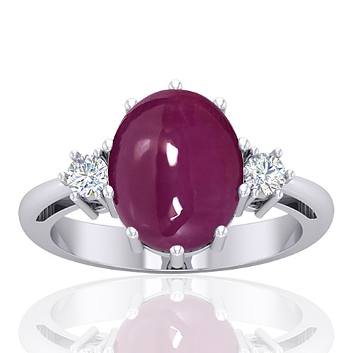 14K White Gold 5.93 cts Ruby Stone Diamond Cocktail Vintage Jewelry Ring
