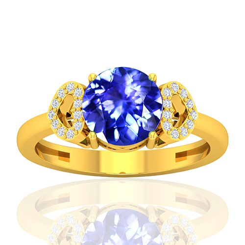 18K Yellow Gold 1.85 cts Tanzanite Gemstone Diamond Women Wedding Designer Fine Jewelry Ring