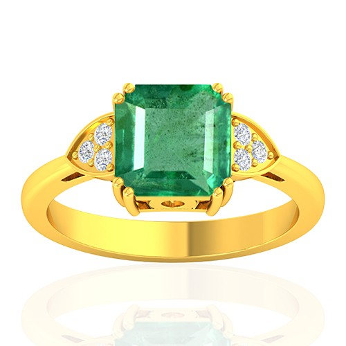 18K Yellow Gold 2.29 cts Emerald Stone Diamond Designer Engagement Women Fine Jewelry Ring