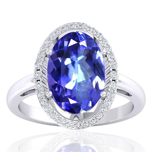 14K White Gold 3.31 cts Tanzanite Gemstone Diamond Women Wedding Fine Jewelry Ring