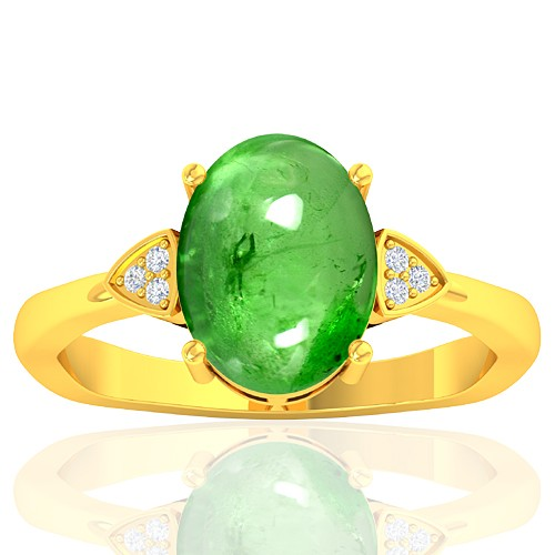 18K Yellow Gold 3.75 cts Tsavorite Gemstone Diamond Cocktail Women Fine Jewelry Ring